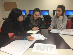 (From left: Dara, Beth and Hellena working on their projects.)